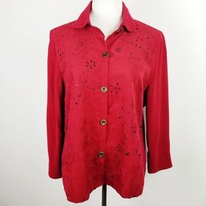 ALFRED DUNNER Petite Red Cutout Sweater Jacket